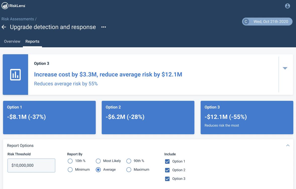 RiskLens Platform - Compare Controls ROI