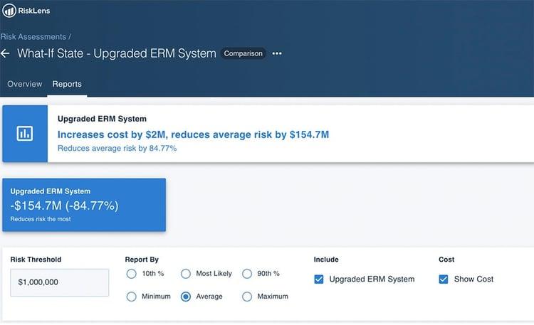 RiskLens Platform - What If State - EMR Platform