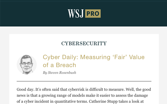 Wall St Journal Cyber Daily on FAIR Oct 2018